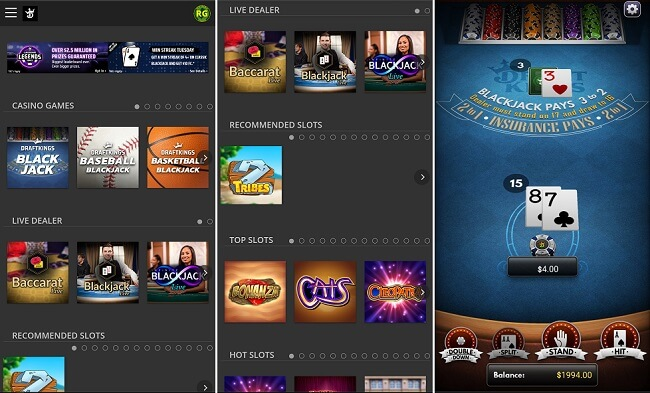 DraftKings Casino Android app