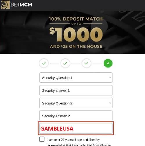 BetMGM 12 digit promo code